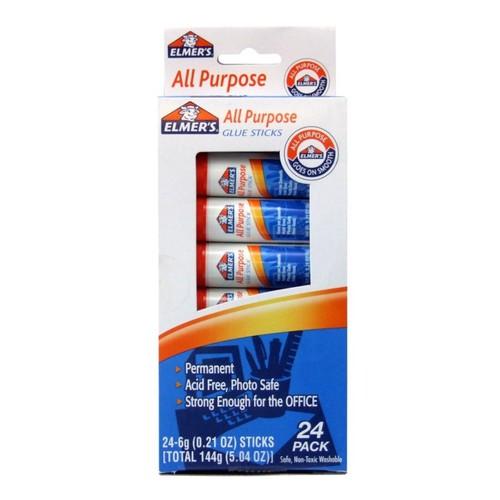 Elmer's All-Purpose Washable Glue Sticks, 0.21 Oz, White, Pack Of 24