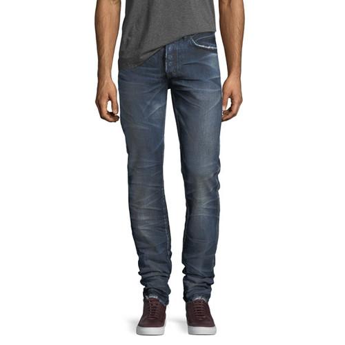 Demon Distressed Denim Slim-Straight Jeans