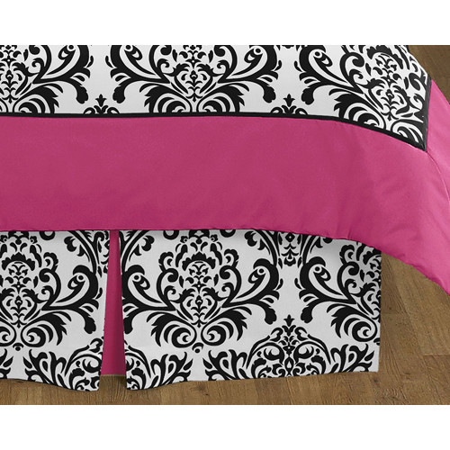 Sweet Jojo Designs Isabella Hot Pink, Black and White Collection Queen Bed Skirt