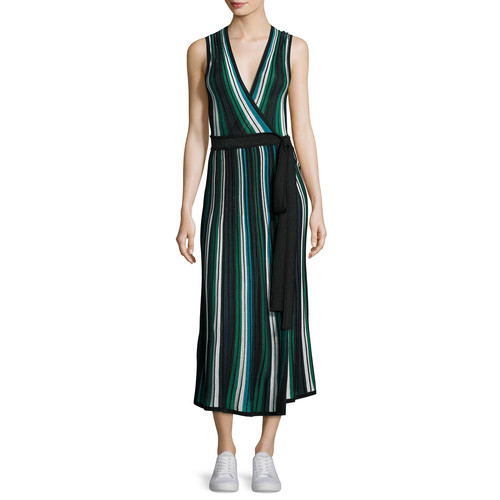 DIANE VON FURSTENBERG Cadenza Metallic Striped Sleeveless Wrap Dress