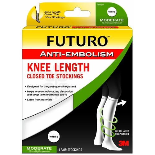Futuro Closed Toe Stockings, Anti-Embolism, Knee Length, Moderate, White, X-Large 1 pair