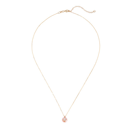 Diamond And Pink Pearl Necklace