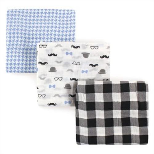Hudson Baby 3-Pack Gentleman Muslin Swaddle Blankets