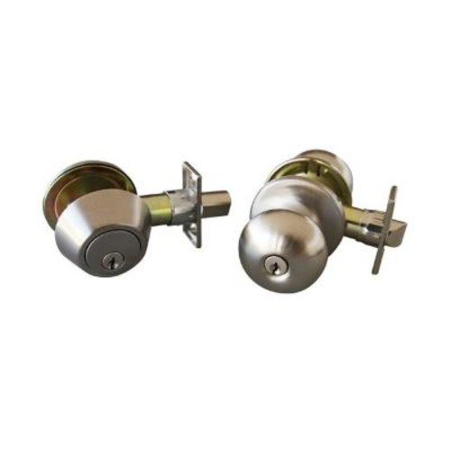 Design House Canton Satin Nickel Entry Door Knob and Single Cylinder Deadbolt with Universal 6-Way Latch