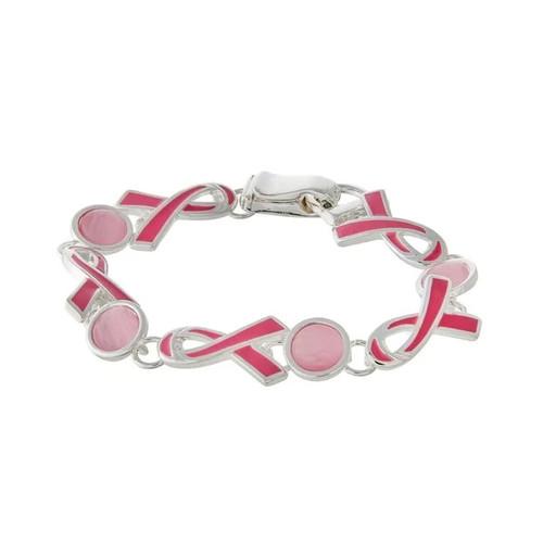 Pink Ribbon Enamel Breast Cancer Awareness Bracelet