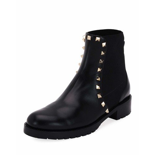 VALENTINO Rockstud Leather Boot, Black
