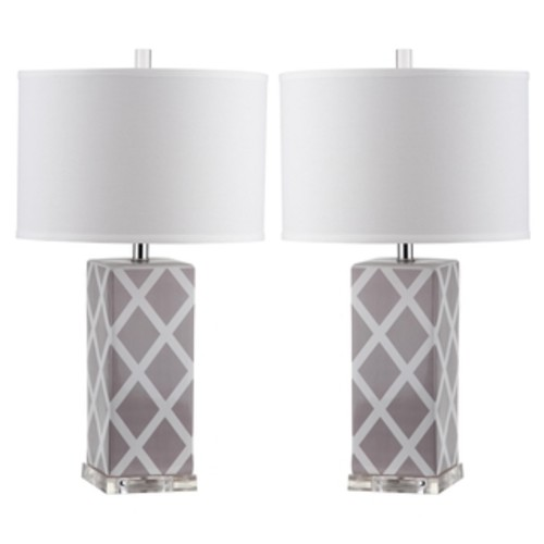 Safavieh Indoor 1-light Grey Garden Lattice Table Lamp (Set of 2)