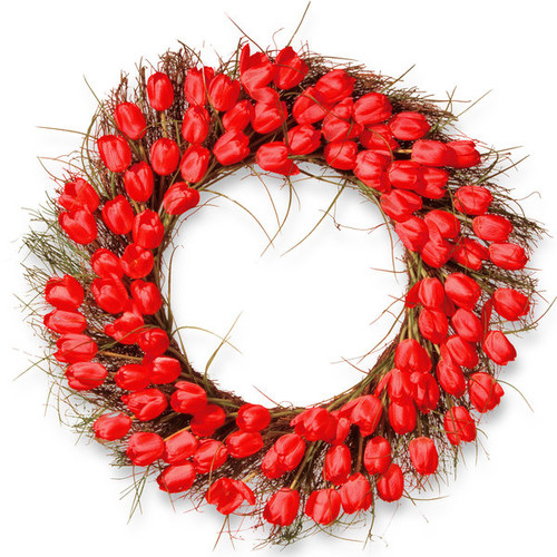 National Tree Company Red Plastic 32-inch Tulip Wreath