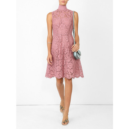 VALENTINO Lace Embroidered Flared Dress