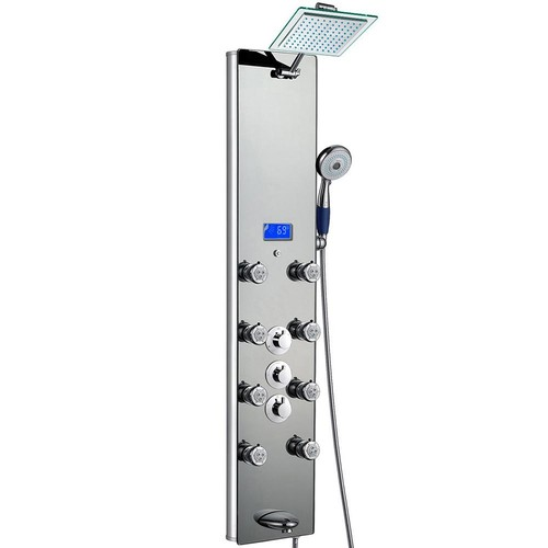 AKDY 52 in. 8-Jet Shower Panel System in Mirror Tempered Glass with Rainfall Shower Head Hand Shower (Valve Included)