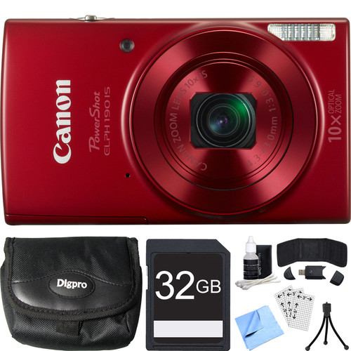 Canon PowerShot ELPH 190 IS Red Digital Camera w/ 10x Optical Zoom 32GB Card Bundle