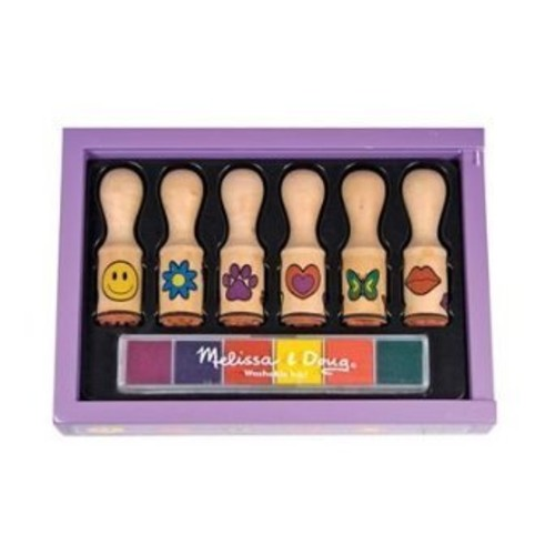 Melissa & Doug Happy Handles Wooden Stamp Set: 6 Stamps and 6-Color Stamp Pad