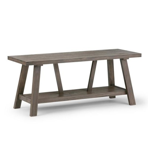 Simpli Home Dylan Driftwood Finish Bench