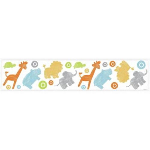 RoomMates 5 in. x 11.5 in. Kathy Davis Animals on Parade 69-piece Peel and Stick Wall Decals