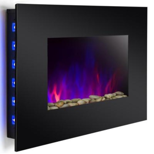 AKDY 36 in. Wall Mount Electric Fireplace Heater in Black with Tempered Glass, Pebbles, Logs and Remote Control