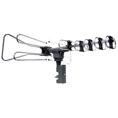 Naxa NAA-350 High Powered Amplified Motorized Outdoor Antenna, Silver NAA-350