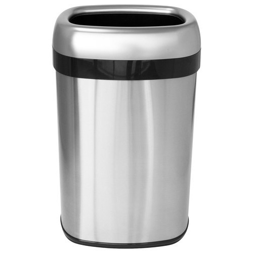 iTouchless - 13-Gal. Oval Trash Can - Stainless Steel/Silver