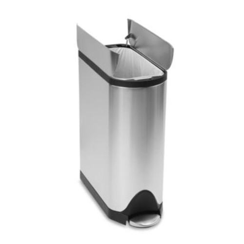 simplehuman Brushed Stainless Steel Fingerprint-Proof Butterfly 45-Liter Step Trash Can