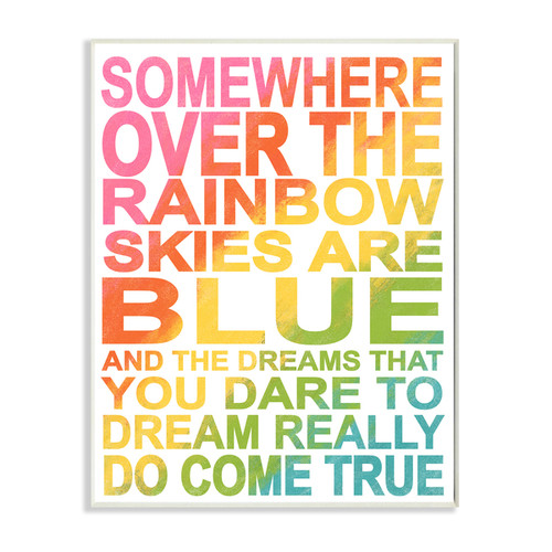 Somewhere Over Rainbow' Ombre Typog Stretched Canvas Wall Art