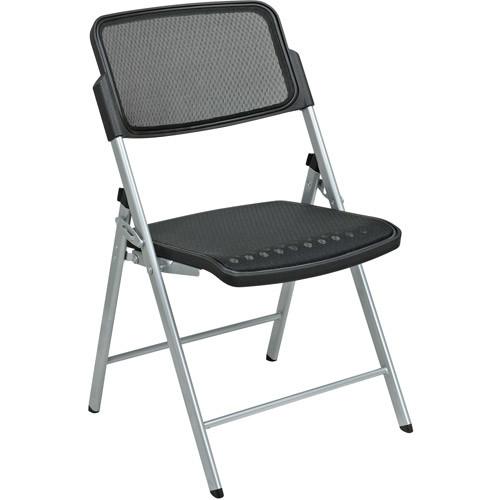 Office Star Pro-Line II ProGrid Folding Chair in Silver (Set of 2)