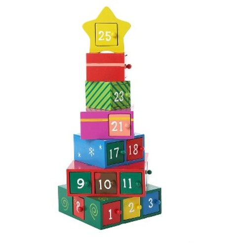 Wooden Gift Christmas Tree Advent Calendar Table Dcor Set