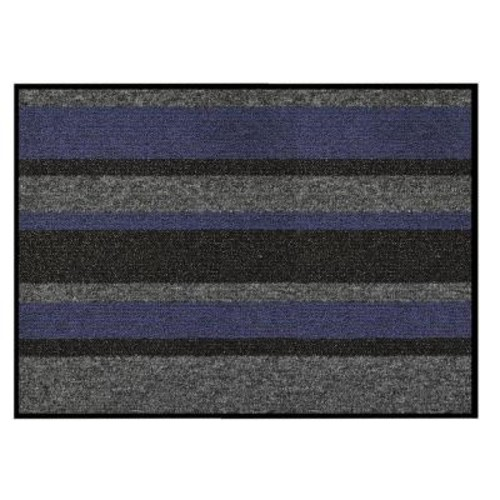 HomeTrax Designs Textura Blue 18 in. x 30 in. Vinyl-Backed Entrance Mat