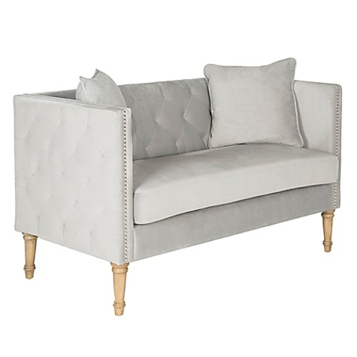 Safavieh Sarah Tufted Settee with Pillows in Grey