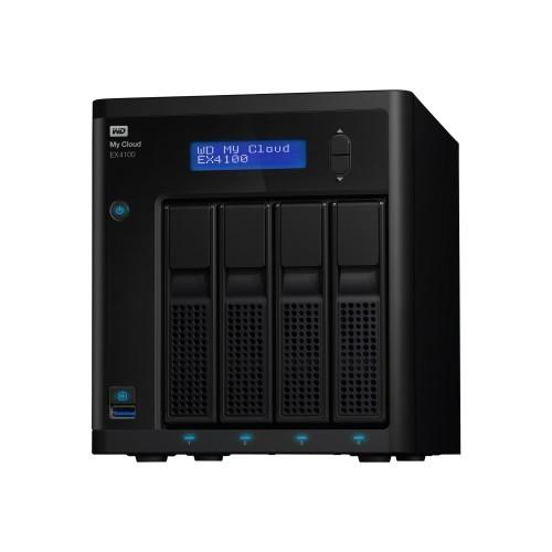 WD WD My Cloud EX4100 WDBWZE0320KBK - NAS server - 4 bays - 32 TB - HDD 8 TB x 4 - RAID 0, 1, 5, 10, JBOD, 5 hot spare - Gigabit Ethernet - iSCSI (WDBWZE0320KBK-NESN)