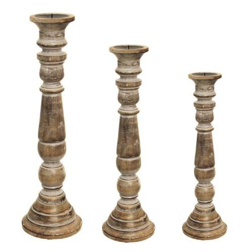Sardinia Antique White Distressed Wood Pillar Candle Holders (Set of 3)
