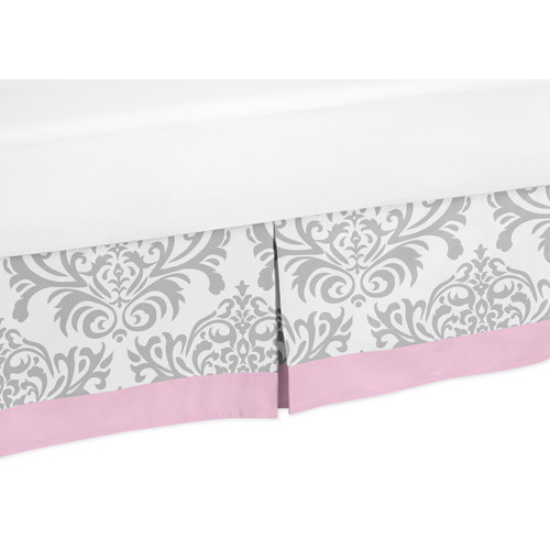 Sweet Jojo Designs Pink and Gray Elizabeth Collection Toddler Bed Skirt
