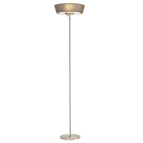 Adesso Harper 71 in. Satin Steel Floor Lamp with Grey Shade