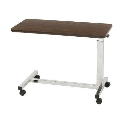 Drive Medical Low Height Overbed Table, Walnut
