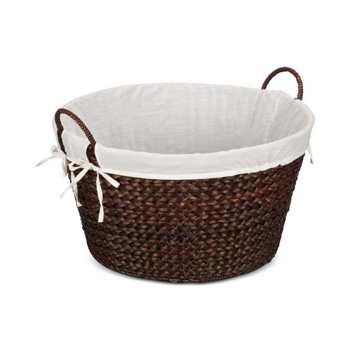 Household Essentials Banana Leaf Lined Laundry Basket, Brown