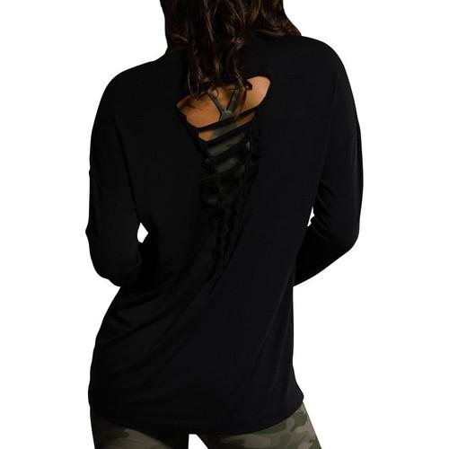 Onzie Women's Black Braid Back Long Sleeve Shirt