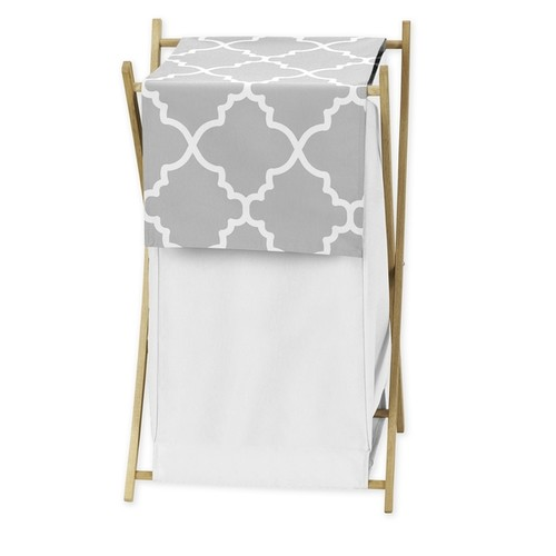 Sweet Jojo Designs Grey and White Lattice Laundry Hamper - Hamper