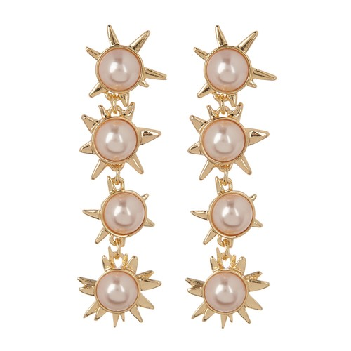 Faux Pearl Starburst Drop Earrings