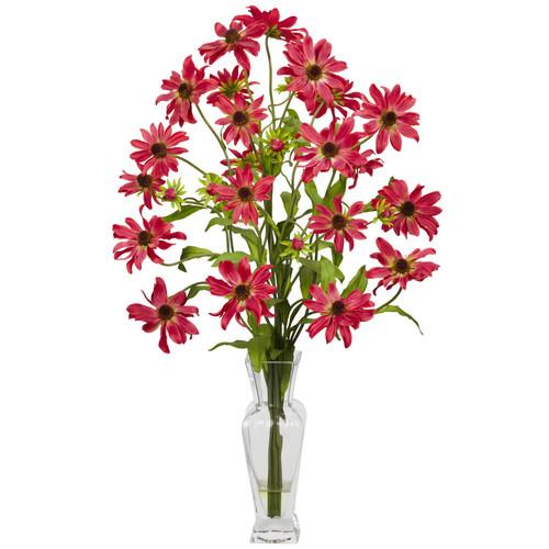 27 in. H Red Cosmos with Vase Silk Flower Arrangement