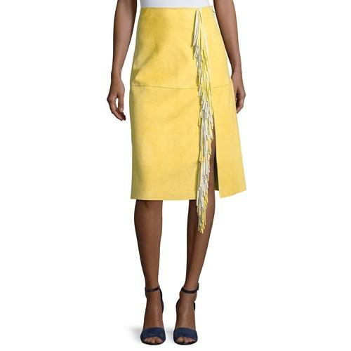 DIANE VON FURSTENBERG Side-Slit Fringe Suede Skirt, Yellow