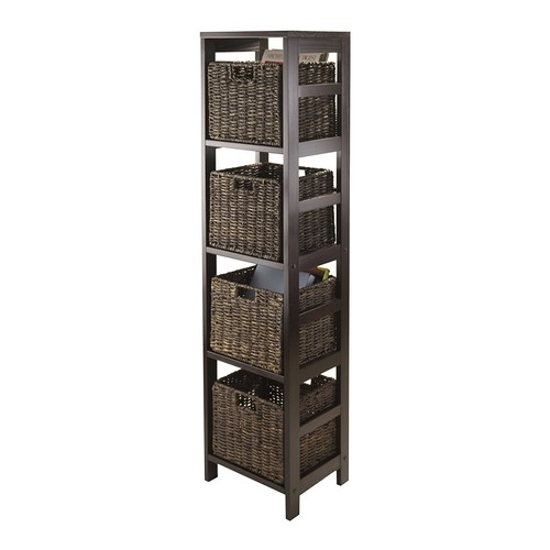 Winsome Granville 5-Piece Storage Tower Shelf with 4 Foldable Baskets, Espresso [Multi, chocolate baskets]