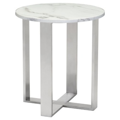 Modern Round Faux Marble Side Table - Stone, Brushed Stainless Steel - Zm Home