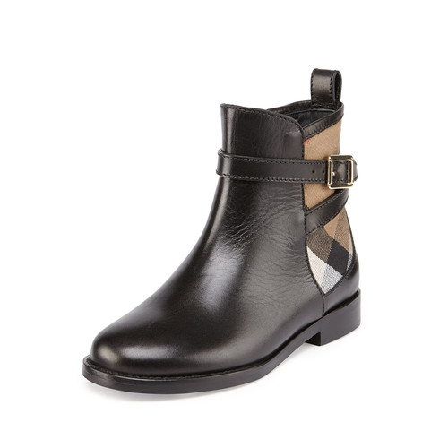 BURBERRY Richardon Leather And Check Ankle Boot, Black, Infants'