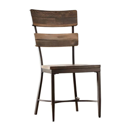 Hillsdale Furniture Jennings Brown Metal and Wood Dining Chair (Set of 2) - Jennings Dining Chair Set in Distressed Walnut