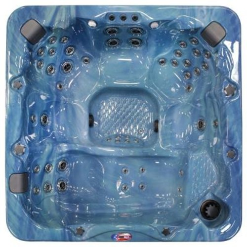 American Spas 6-Person 56-Jet Lounger Spa with Bluetooth Stereo System, Subwoofer and Backlit LED Waterfall
