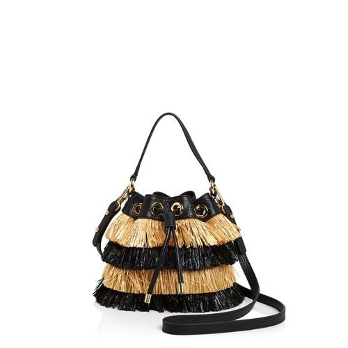 MILLY Small Raffia Drawstring Bucket Bag