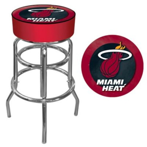 Trademark Global Vinyl Padded Swivel Bar Stool, Red, Miami Heat NBA