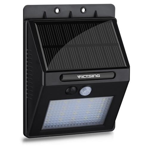 20 LED 400lm Black ABS/Plastic Solar-panel-powered Outdoor Motion Sensor Lamp