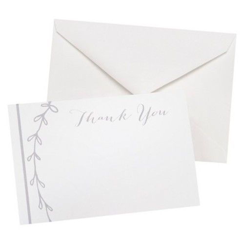 Hortense B. Hewitt 50 Count Rustic Vines Thank You Cards, White/Grey [Rustic Vines]