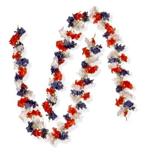 National Tree Company 6 ft. Patriotic Hydrangea Garland (Set of 2)