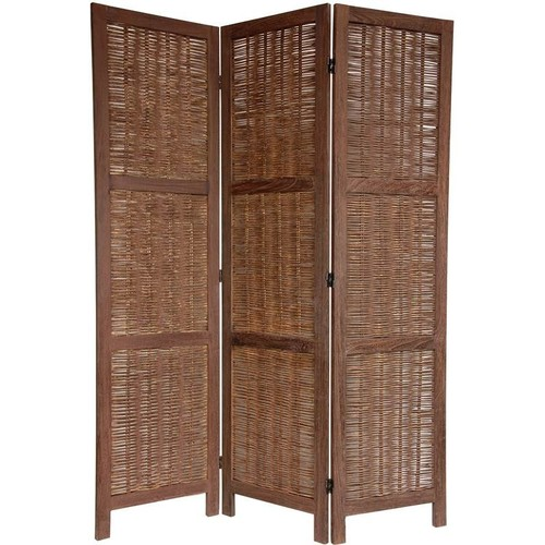 Oriental Furniture 5.5 ft. Tall Bamboo Matchstick Woven Room Divider (6 Panels / Burnt White)