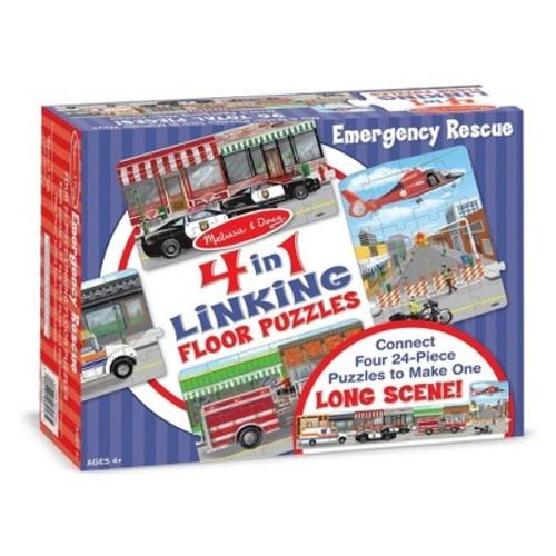 Melissa & Doug Rescue Vehicles 4-in-1 Jumbo Linking Jigsaw Floor Puzzle (96 pcs, 5 feet long)
